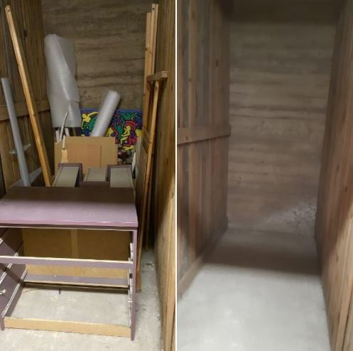 Keller entrümpeln - Schreibtisch Bild Holz Kleinkram wegschmeißen - Keller ausmisten Berlin